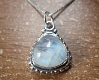 Blue Moonstone Triangle with Silver Dot Accents 925 Sterling Silver Necklace