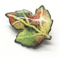 Vintage Brooch Pin Copper Enamel Leaf