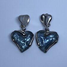 Vintage YSL blue heart clip earrings