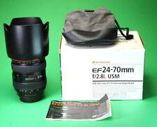 Canon EF 24-70mm F2.8L USM ZOOM LENS + tappi anteriore e posteriore, cappuccio. BOX & sacchetto di Lens