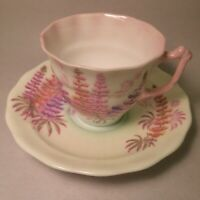 VINTAGE OLD ROYAL BONE CHINA ENGLAND SMALL TEA CUP & SAUCER SNAPDRAGON FLOWERS