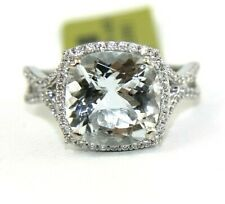 Cushion Aquamarine & Diamond Halo Solitaire Lady's Ring 14k White Gold 4.08Ct