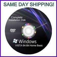 Windows Vista 64 Bit Home Basic install reinstall recovery DVD Disc Support