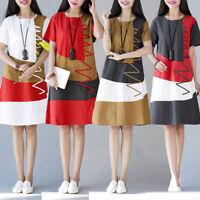 Women Boho Short Sleeve O Neck Patchwork Cotton Linen Loose Casual Dress