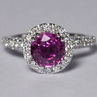 Womens GIA Pink Sapphire Diamond Halo Engagement Ring Solid 18K White Gold
