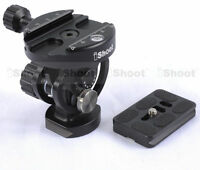 2D Tilt Ball Head with Clamp + Quick Release Plate for Camera Tripod Monopod
