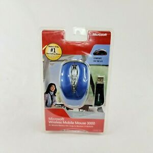 New Blue Microsoft Mobile 3000 Wireless Optical Mouse Mini Transceiver