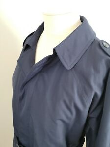 Mens VTG XL Navy Blue Bush Sportswear Rain Coat Mac Trench Coat Removable Liner