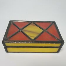 Vintage Stained Rectangle Glass Mirror Trinket Jewelry Box Tiffany Style