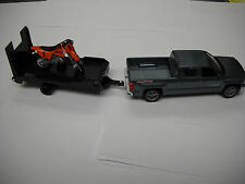 Chevy Silverado & Trailer &  Orange Dirt Bike Toy 1:43 Scale  Cast Model 19535A