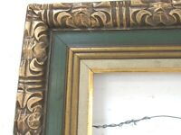 VINTAGE HAND CARVED GILDED / GREEN WOOD FRAME FOR PAINTING  20 X 16 INCH