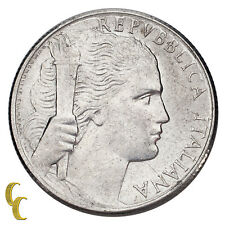 1950 Italy 5 Lire Coin Aluminum About Uncirculated Condition