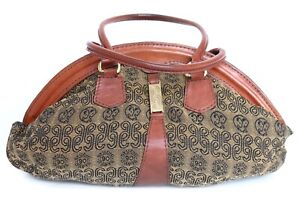 Vintage Tote Bag - Tan Brown Leather / Monogram Fabric - 1980s - Medium