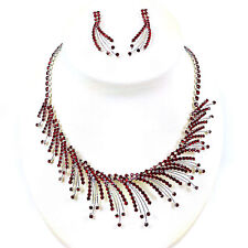 Crystal Red Flame Rhinestone Necklace & Earring set for Wedding, Bridal, Prom