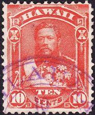 Hawaii - 1883 - 10 Cents Vermilion King David Kalakaua #45 Kileaua Kauai Cancel