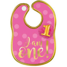 1st BIRTHDAY Pink and Gold FABRIC BIB ~ First Party Supplies Favor Girl Gift