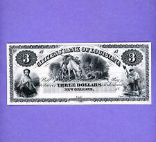1800's $3 Louisiana Citizens Bank New Orleans Note GEM UNC