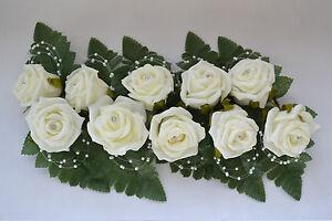 Wedding buttonholes pearl diamante spray or loop groom best man guest choose qty