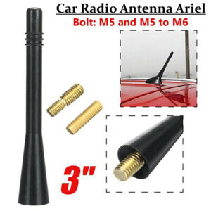 Universal Black Car Short Stubby Antenna Aerial AM/FM Radio Mast Screw Type BA