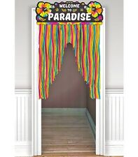 Welcome To Paradise Hawaiian Door Sign Curtain Dangler Tropical Party Decoration