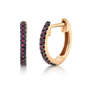 14K Rose Gold Ruby Huggie Earrings Hoops Round Cut Natural Small 0.08CT Womens