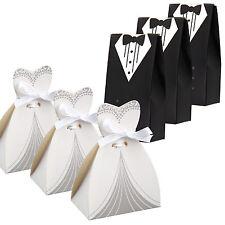 100 Couples Ballotin Boîte à dragées Bonbons Robe de mariée+Smoking pour Mariage