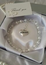 Bridesmaid Bracelets Pearl Jewellery Flower Girl Matron Of Honour Maid  Gift