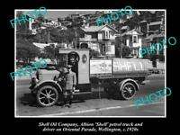 OLD LARGE HISTORIC PHOTO OF SHELL OIL COMPANY PETROL TANKER c1920s NEW ZEALAND