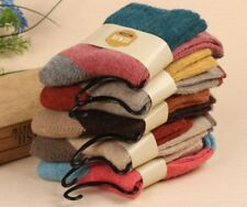 5 Pairs Women Wool Cashmere Thick Winter Socks Warm Soft Solid Casual Sports UK