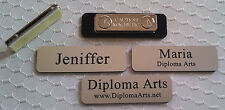 """Custom Name Tags 2.5""""x0.75"""" Silver -Black letters Corners Rounded w/ magnet"""