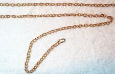 "VINTAGE TEXTURED SURFACE BRASS CABLE CHAIN 20"" LENGTH 5 PCS"