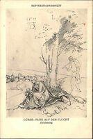 """Alte Künstlerkarte ~1920 """"Ruhe auf der Flucht"""" nach Zeichnung Albrecht DÜRER"""