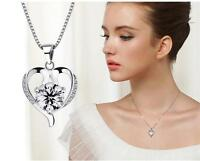 New Girl Austrian Crystal Heart pendant necklace 925 Sterling silver jewelry
