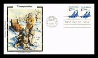 DR JIM STAMPS US DOG SLED TRANSPORTATION COIL UNSEALED FDC COVER COLORANO SILK