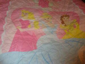 "Vintage Disney Princess Toddler Pink Blanket Nursery Quilt 42"" x 58"" Decor   364"