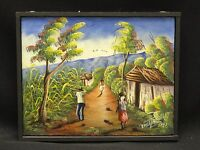 MAGNIFICENT SIGNED HAITIAN COUNTRYSIDE VILLAGE SCENE PAINTING By ERNST PIERREL