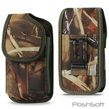 BIG Nylon Camo Camouflage Case Pouch Holster + Belt-Clip & Loop for LARGE PHONES