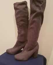 Women Grey Suede High Heels Knee High Pull On Boots With Zip, AUS Size 7.
