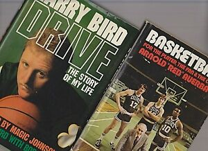 2 Books 1975 Red Auerbach Basketball 1989 Larry Bird Drive Boston Celtics