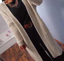 Strick Jacke Mantel Long Cardigan L 42 Warm Blogger Musthave Chic Knit Beige MBL