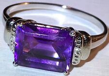 Deep Purple Amethyst Ring with diamond Accents in Sterling Silver