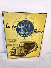 Vintage 1935 Antique Car Auto Metal Sign Cabriolet La Voiture Par Excellence RE