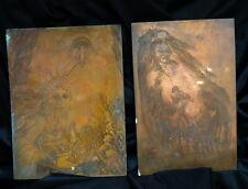 2 antique copper PRINTING plates American art 1776 print block Statue of Liberty