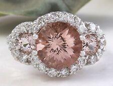 4.90 Carats Natural Morganite and Diamond 14K Solid White Gold Ring