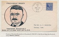 "#830 ""THEODORE ROOSEVELT"" ON WEIGAND FDC HANDPAINTED CACHET BS2855"