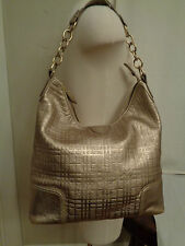 BURBERRY London gold plaid 100% genuine leather tote shopper made in Italy