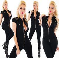 tuta donna nera overall stretta aderente skinny lunga zip borchie a stella nuova