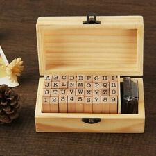 36pcs Wooden Alphabet Letter Number Stamper Seal Craft Card Invitation DIY Set