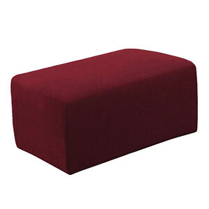 Premium Ottoman Cover Footstool Slipcovers Pouf Sofa Guard Accessories Wine RED