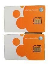 2 New At&T 4Ff Nano Sim Card Gsm At&T Prepaid Postpaid New & Existing Service!